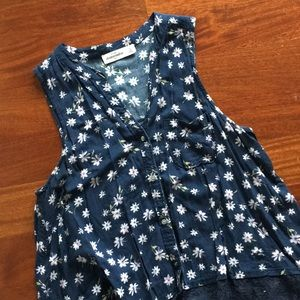 Abercrombie floral button up tank navy